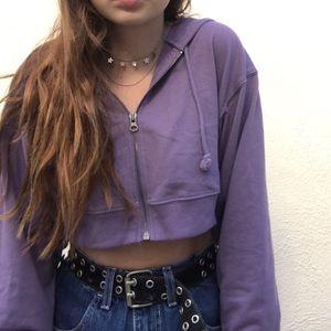 Purple cropped zip-up hoodie